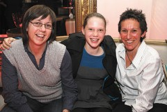 Vicki Harding (left) with her partner Jackie Braw and daughter Brenna. Photo: Ann-Marie Calilhanna [photo from SSO]