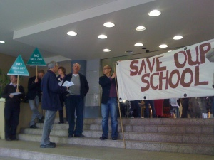 Save Our School members hand out information at the Auction of Enmore School held at The Rocks