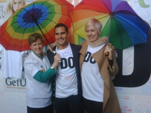 Greens Senate Candidate Cate Faehrmann with Senator Christine Milne and Sydney MP Alex Greenwich, June 2012