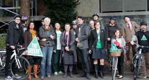 Greens MP Cate Faehrmann and Senator Scott Ludlum, with local Greens including Sylvie Ellsmore and Melissa Brooks