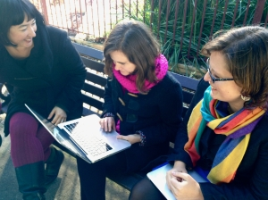 Greens Councillors Melissa Brooks and Sylvie Ellsmore with local resident at Camperdown Memorial Park