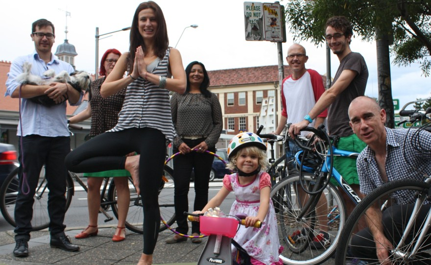 Supporters of Sunday Streets meet on King St after the Marrickville Council vote incl Greens Clr Daniel Kogoy (L), Clr Sylvie Ellsmore and Dr Mehreen Faruqi MLC (centre)