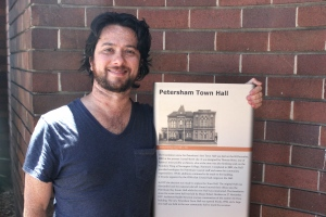 Max & historical sign Petersham Town Hall