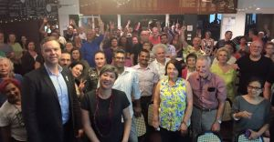 Greens MPs Jamie Parker & Jenny Leong at Petersham Bowling Club, November 2015